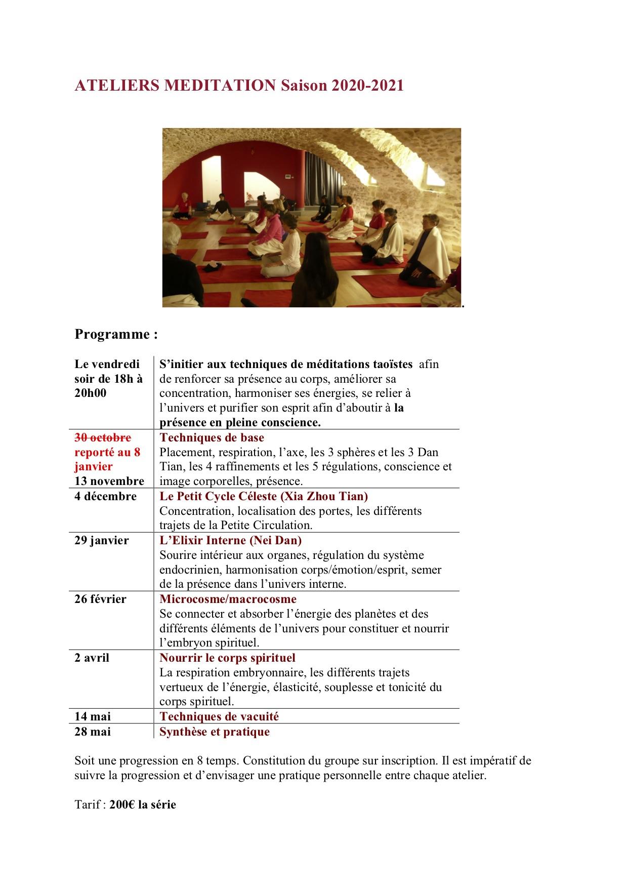Ateliers Méditation 2020-2021
