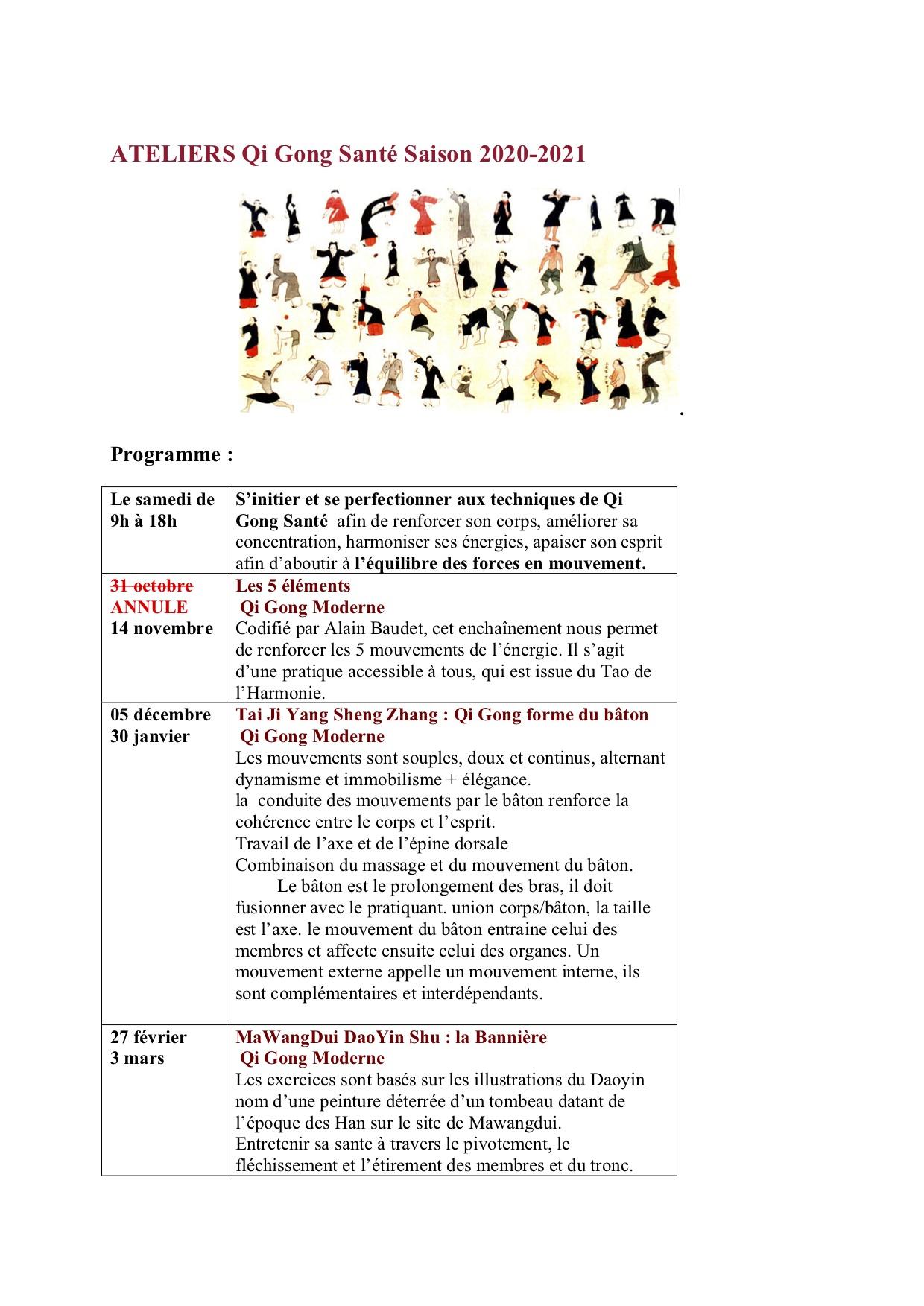 Ateliers Qi Gong Santé 2020-2021